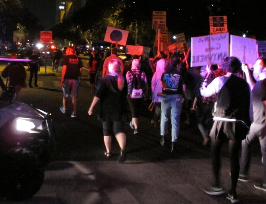 Protestors against President-elect Donald Trump march through downtown St. Petersburg