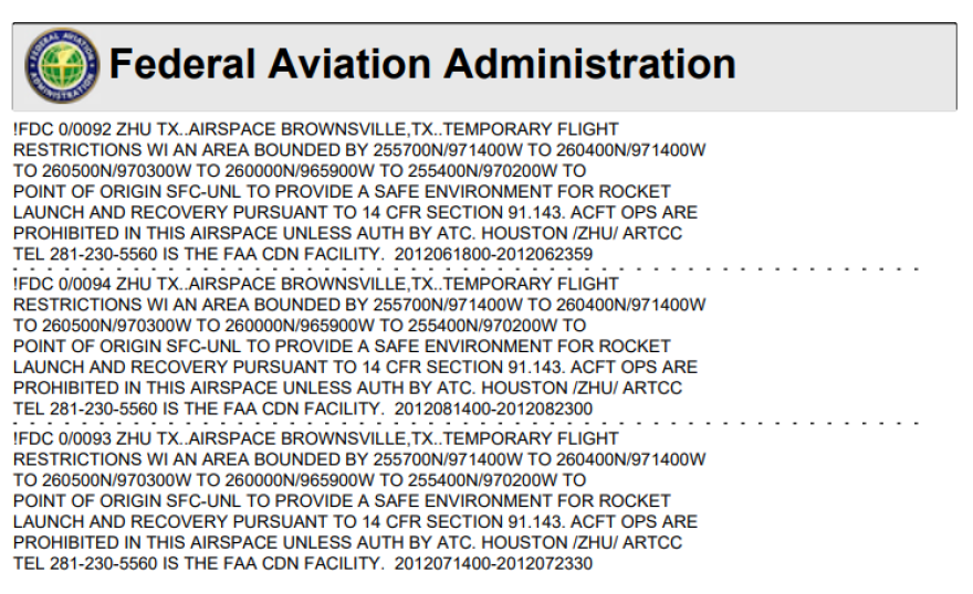 SpaceX FAA TFR
