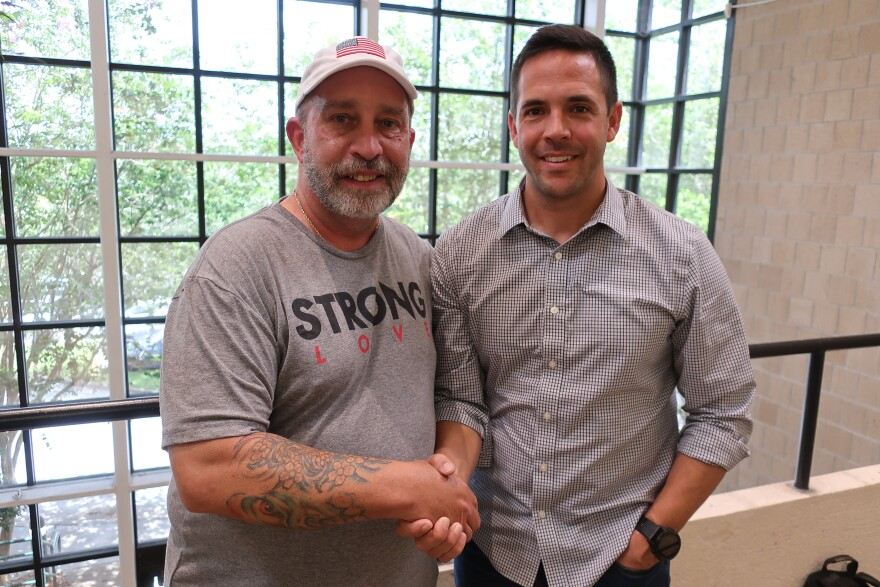 Paul Mott (l) and Brad Pupello participated in One Small Step, a project WUSF produced in partnership with StoryCorps. It brings two people of differing political backgrounds together for civil conversation.