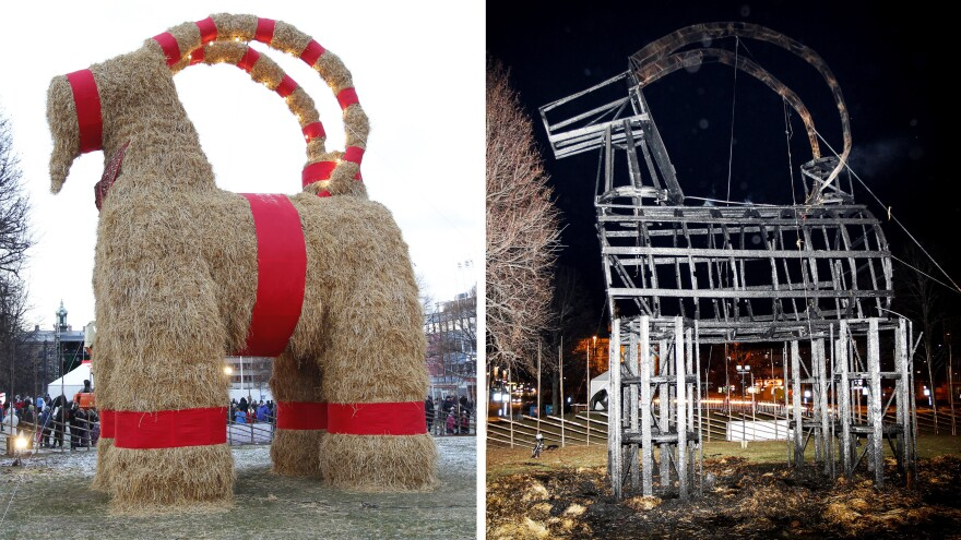 (Left) The traditional Christmas goat made of straw is inaugurated in Gavle, Sweden on Sunday. (Right) The goat was burned down just hours after the inauguration to celebrate its 50th anniversary. The goat has been torched many times over the years.
