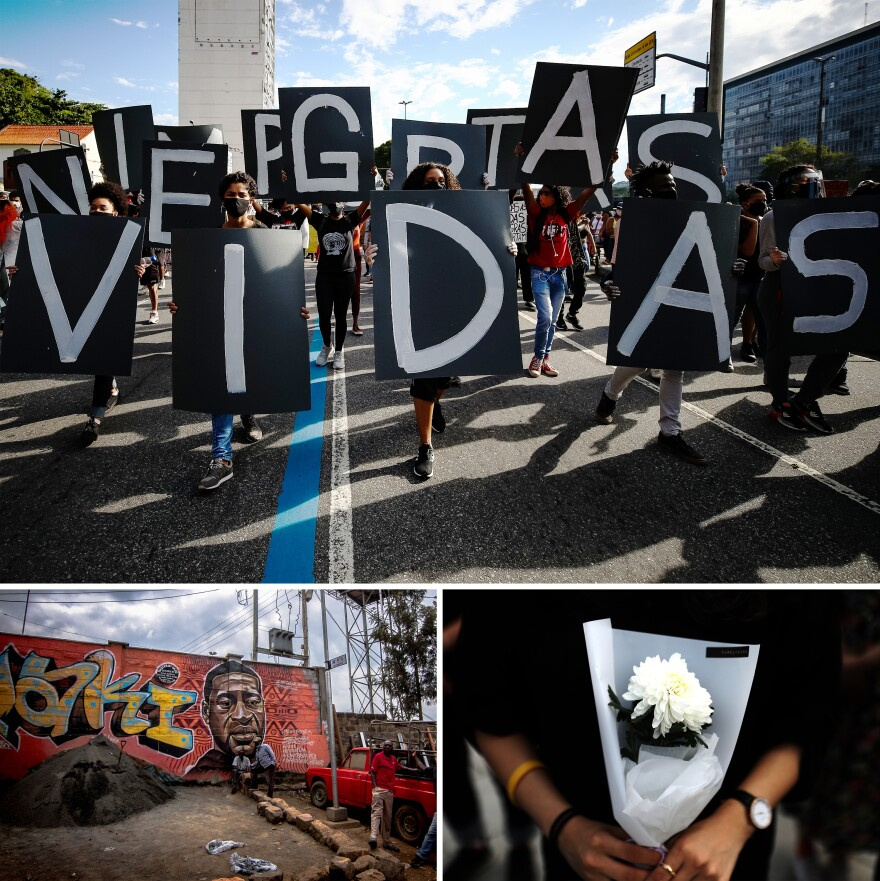 "The killing of George Floyd in Minnesota resonated and led to huge demonstrations for racial justice around the world. Top: Protesters hold Portuguese signs reading ""Black Lives Matter"" in Rio de Janeiro, Brazil. Left: Residents of Nairobi's Kibera slum work in front of a George Floyd mural in Kenya. Right: A South Korean activist holds a flower during a rally to mourn Floyd's death."