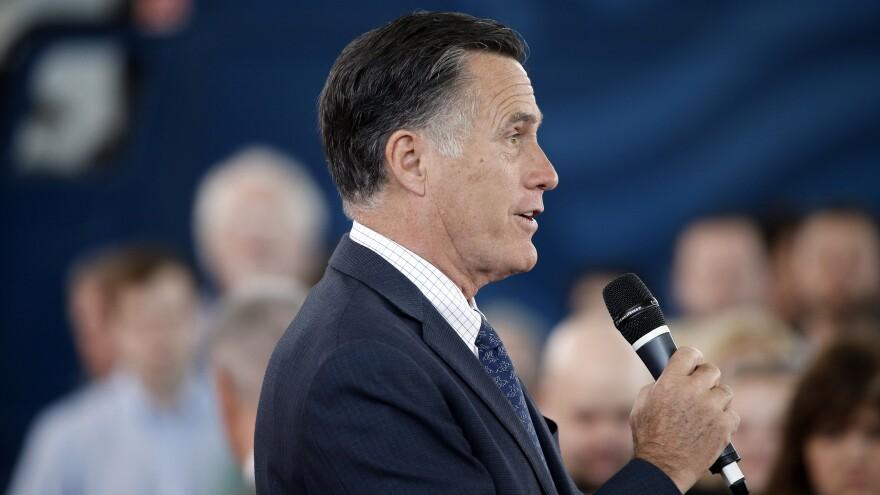 Former Republican presidential candidate Mitt Romney speaks during Republican presidential candidate, Ohio Gov. John Kasich campaign stop last week in Ohio.