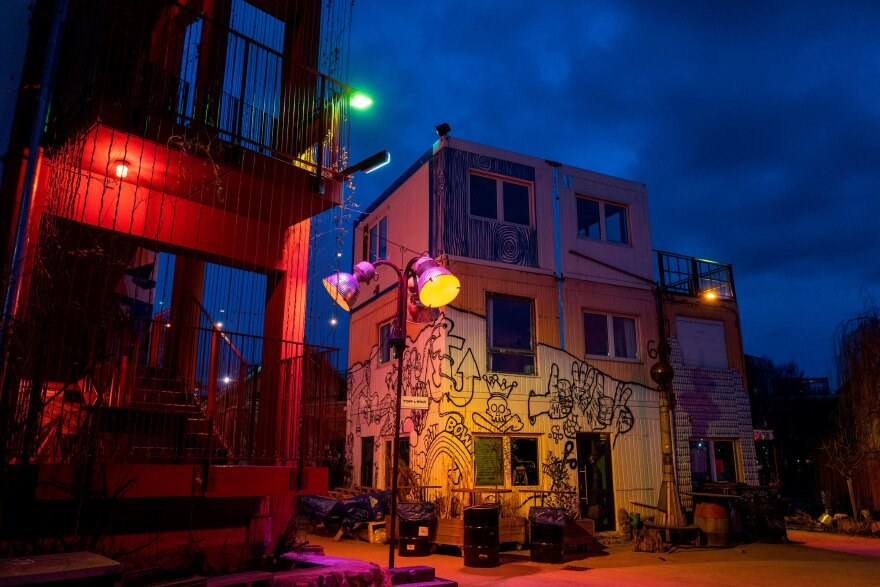 View of the Holzmarkt 25 bar area, close to the Kater Blau club in Berlin last month. All Berlin nightclubs have been closed since March 13, causing employees and artists to lose their livelihoods.