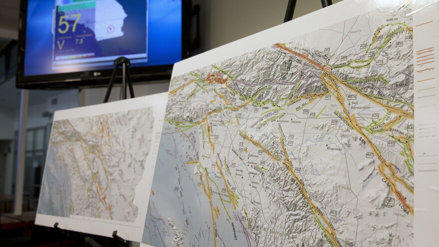 A map shows earthquake faults in part of Southern California. Scientists using hundreds of graphics processors found that the region experienced 1.81 million temblors over a decade-long span — 10 times more than what had previously been detected.
