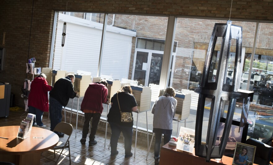 Voters cast their ballots in Salem, Ohio, on Nov. 8, 2016. On Wednesday the Supreme Court hears a case about Ohio's voter registration policy.