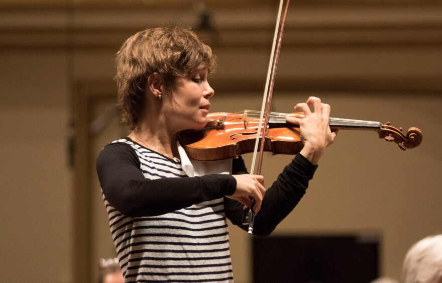 Violinist Leila Josefowicz plays with the St. Louis Symphony Orchestra in this photo taken earlier this fall.