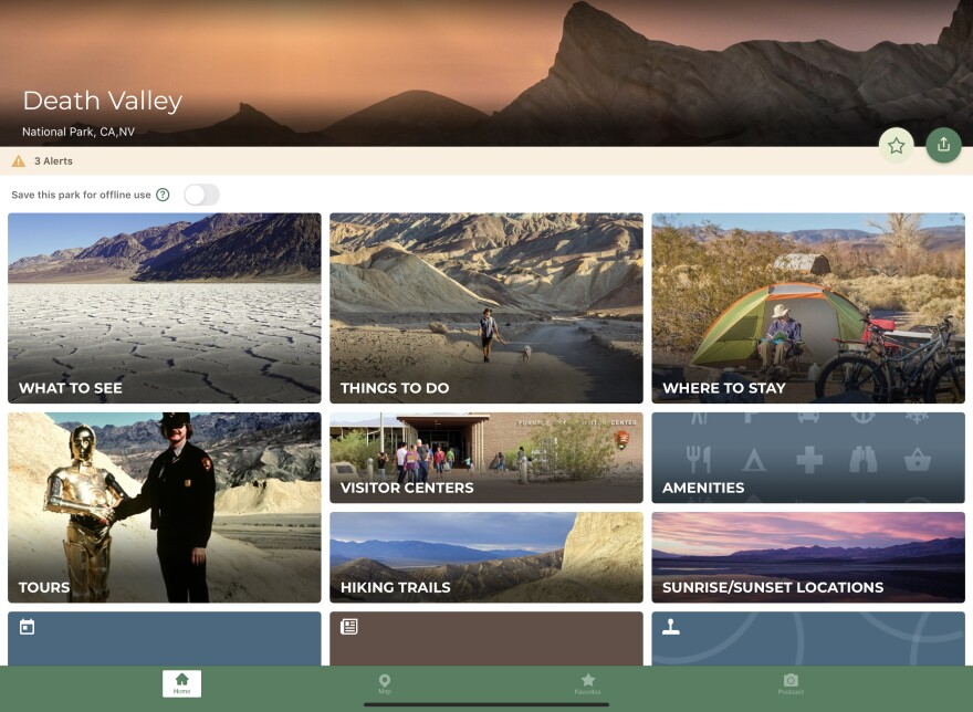 The app features different national parks, each with its own home page, which guides the user through a variety of activities like tours, sunset or sunrise locations and lodging.