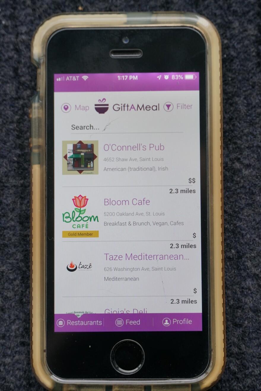GiftAMeal Food app as it appears on phone screen. Nov. 19, 2018