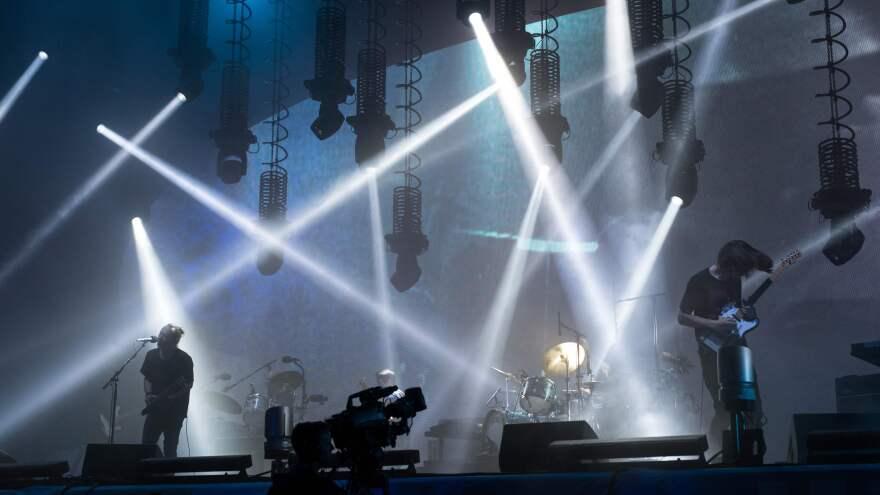 Radiohead perform on the Pyramid Stage at the Glastonbury music festiva on June 23, 2017.