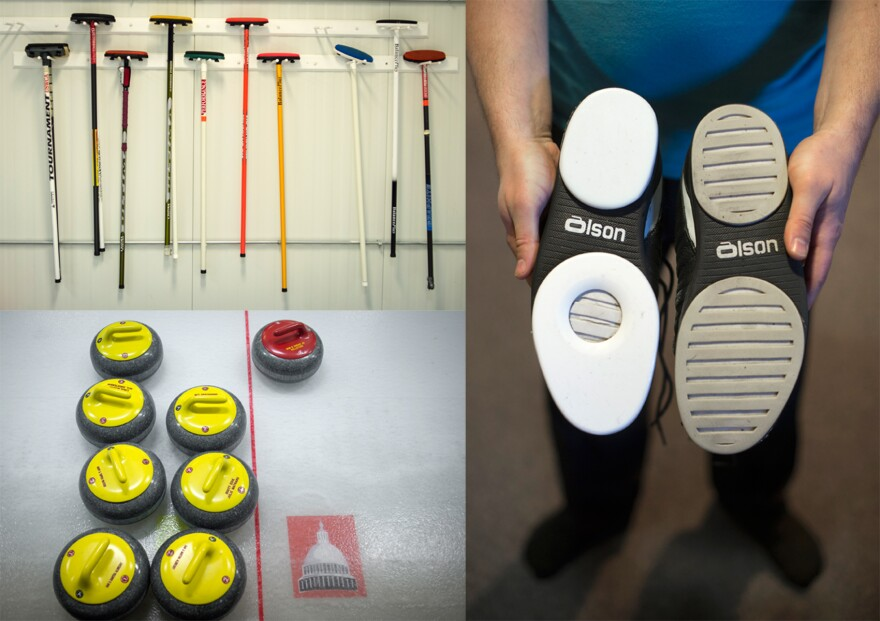 Curling brooms, stones and a pair of special shoes belonging to Potomac Curling Club member Joe Rockenbach.
