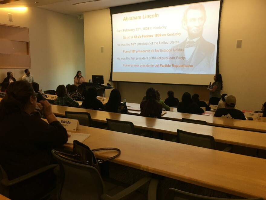 The Spanish in the Community class on April 11, 2019, was about Abraham Lincoln and the Civil War. UNT Dallas has been offering a free class to green card holders that helps them pass the U.S. citizenship test they must take on the way to becoming U.S. ci