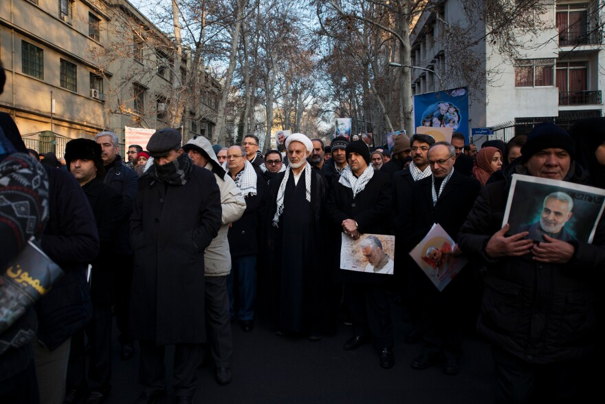 Thousands of people attended the procession for Soleimani, who was killed last week in a U.S. drone strike in Baghdad.