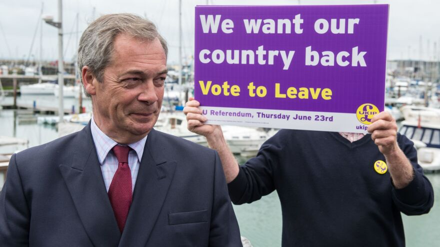 U.K. Independence Party leader Nigel Farage says Britain should leave the European Union. Key themes in his campaign, including sharp criticism of the country's immigration policies, are similar to Donald Trump's positions in the U.S. presidential race.
