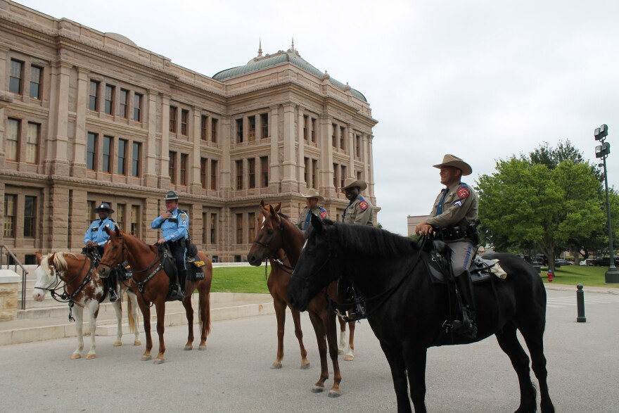 The DPS Mounted Horse Patrol Unit with the Houston Police Department's mounted patrol.