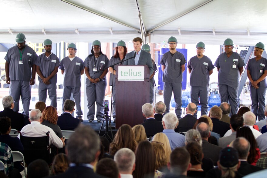 Tellus Products President Matt Hoffman unveils the company's $75 million manufacturing plant in Belle Glade, Fla. on Mar. 27, 2018.