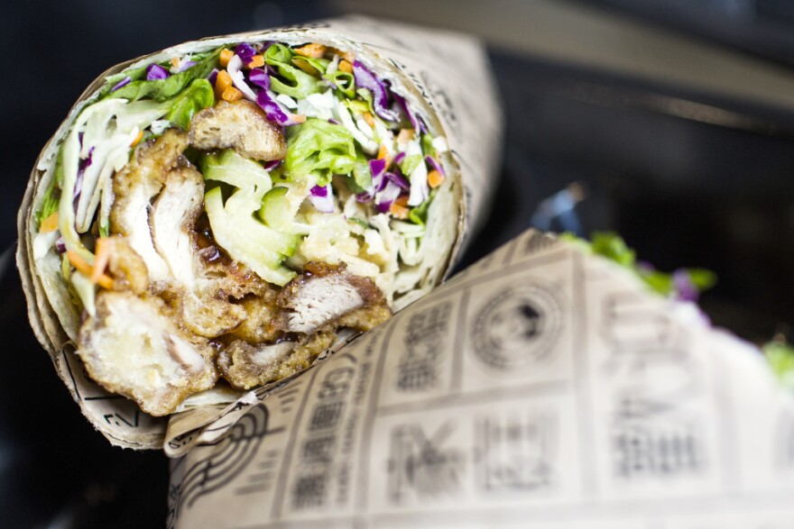 One traditional Chinese dish that Panda Express altered and is now trying out in certain Southern California outlets: <em>cōng yóu</em><em> </em><em>bing</em>, also known as a scallion pancake. Less traditional is how the chain envisions diners eating it — like a wrap or a burrito, stuffed with orange chicken or other entrees.