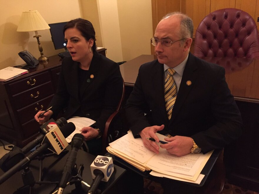 photo of Rep. Brigid Kelly and Rep. Kent Smith