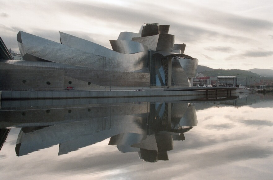 "Frank Gehry designed the Guggenheim Museum in Bilbao, Spain. ""I love going to Bilbao. ... People come out and hug me,"" he says. ""We all need love."""
