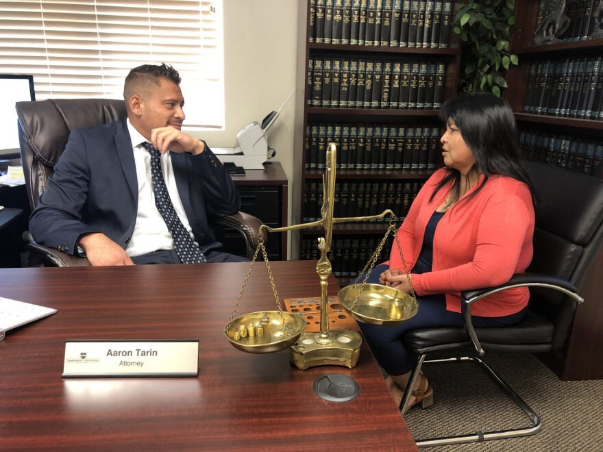 Photo of Cecilia Figueroa-Figueroa and her attorney Aaron Tarin.
