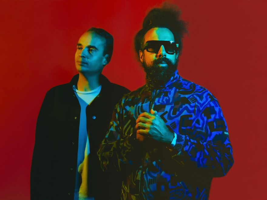 Wajatta is a sort of musical odd couple: John Tejada (left) is a meticulous electronic composer and Reggie Watts (right) improvises all his music. Their album, <em>Don't Let Get You Down</em>, is out now.