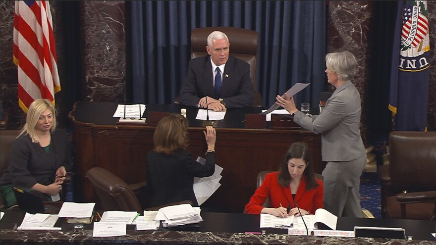 Vice President Pence presided over the Senate during the Senate's vote on Education Secretary Betsy DeVos. The Senate confirmed DeVos with Pence breaking a 50-50 tie.