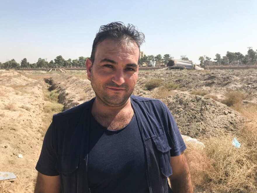 Yasser al-Khamis leads Raqqa's First Responders Team, a U.S.-funded group tasked with emergency work including pulling the bodies of casualties out of the rubble from the war against ISIS.