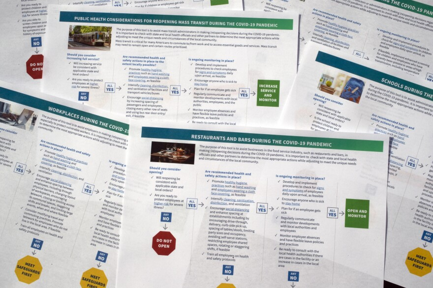 The Centers for Disease Control and Prevention released flowchart-like tools on Thursday designed to guide businesses, schools, mass transit and other organizations through reopening.