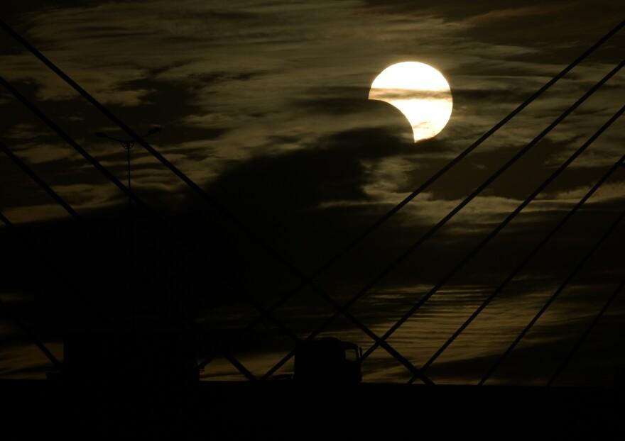 The solar eclipse as seen from Porto Alegre, Brazil.