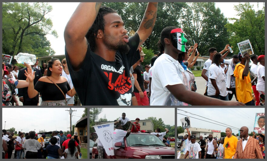 Michael Brown Sr, family and supporters march 4.8 miles from Ferguson to Normandy High School on Saturday, Aug. 9, 2015.