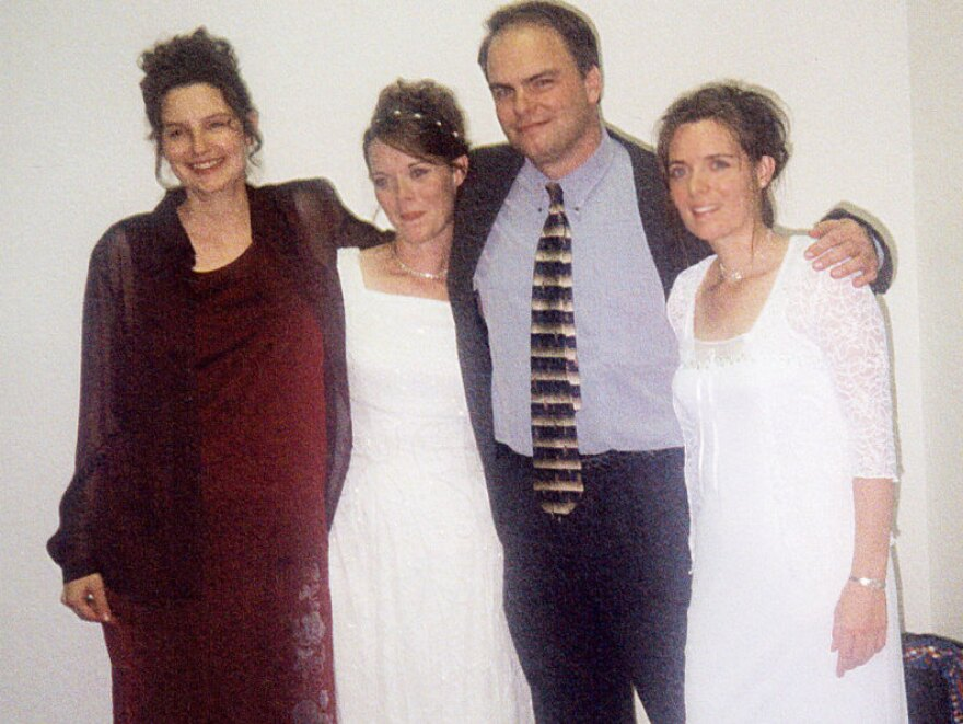 <p>Alina (far left) and Vicki (far right) participate in Valerie and Joe's marriage ceremony on Oct. 14, 2000.</p>
