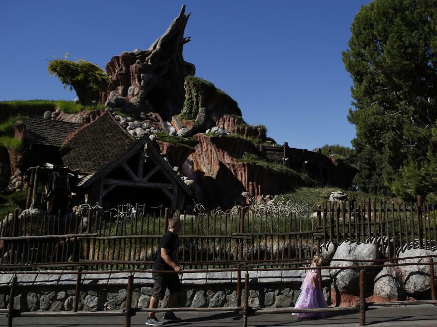 Guests walk in line to Splash Mountain at Disneyland in 2013.