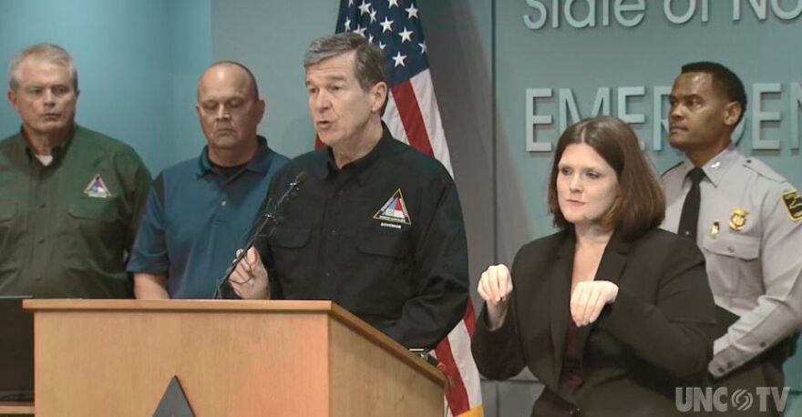 North Carolina Gov. Roy Cooper address the public after last night's rescue operation in Bladen County.