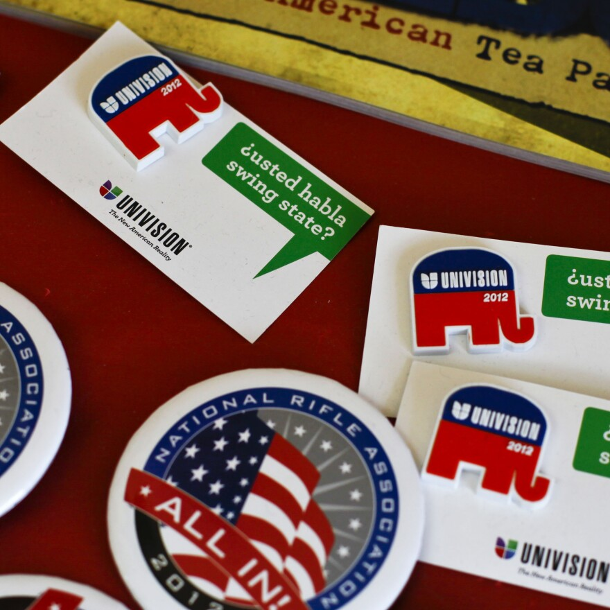 Buttons on display at the Larimer County GOP office.