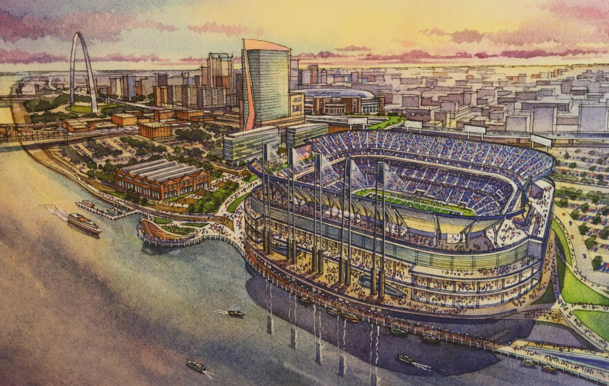 A rendering of the proposed stadium on St. Louis' riverfront.