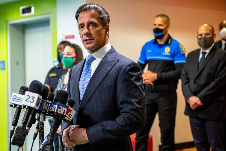 Miami-Dade Schools Superintendent Alberto Carvalho speaks at a press conference on Aug. 31, 2020, recounting the software outage that hindered connection to online learning for thousands of students and teachers on the first day of the 2020-21 school year.