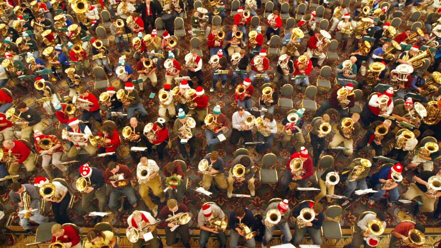Over 400 musicians participated in this 2003 TubaChristmas event in Chicago.