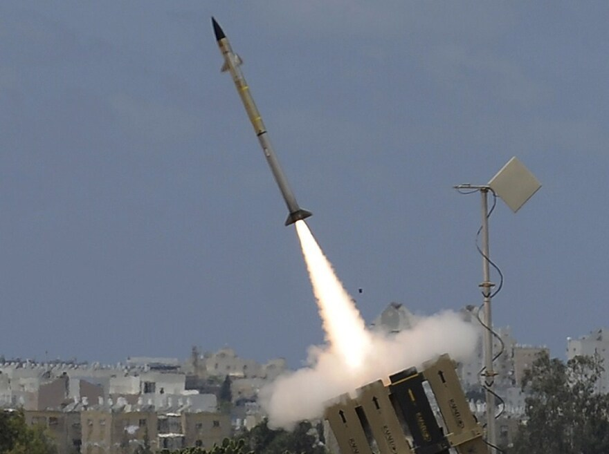 "A missile leaves an ""Iron Dome"" battery, Israel's short-range missile defense system, Monday. Israel shot down a drone Monday, using a Patriot missile to take out the unmanned aircraft."