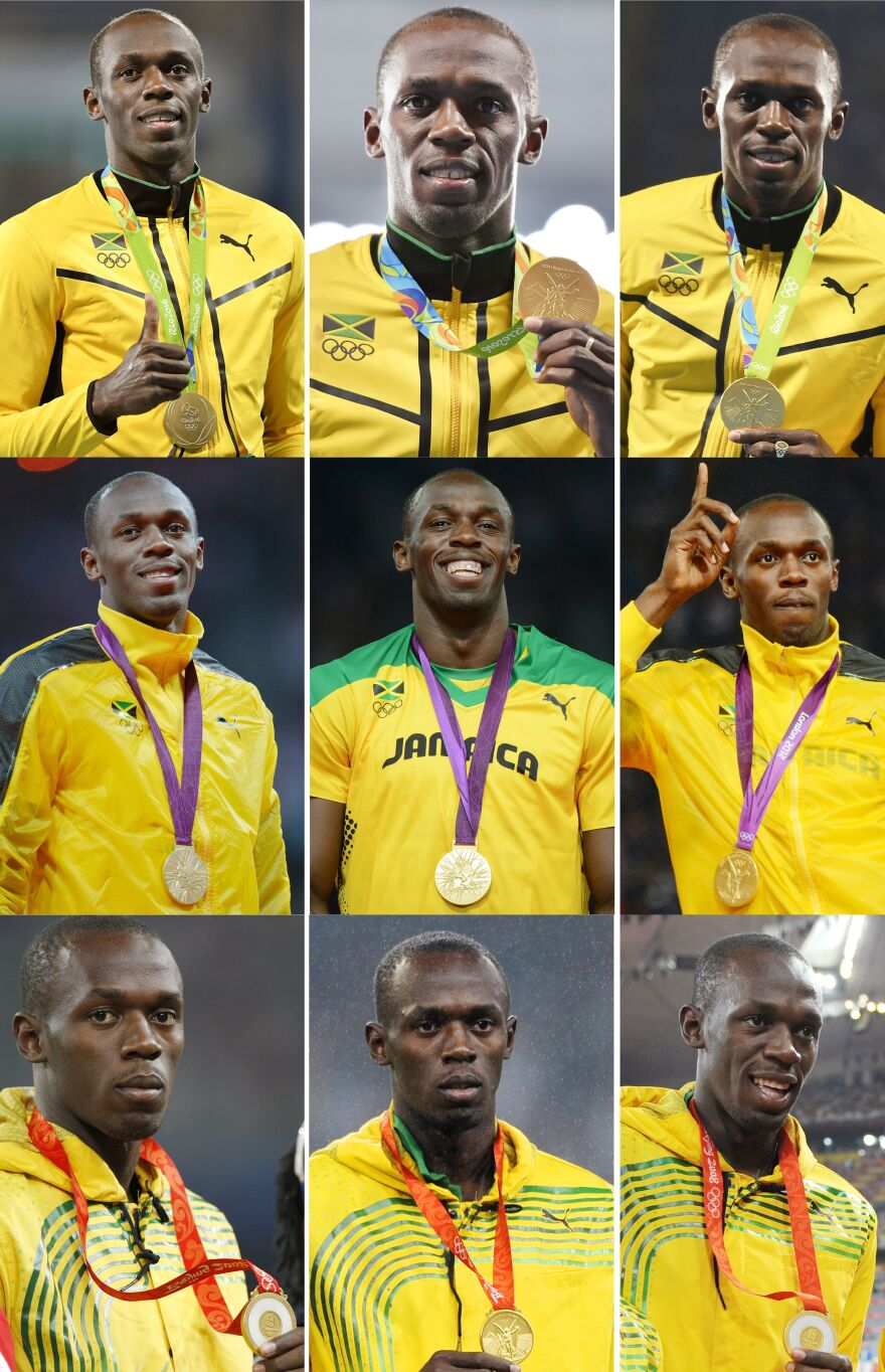 This composite of nine photographs shows Usain Bolt's then-triple-triple. He poses with his gold medals at the Beijing 2008 (bottom row), London 2012 (middle row) and Rio 2016 Olympic Games. The medals are for (left to right) 100-meter, 200-meter and 4x100m races.