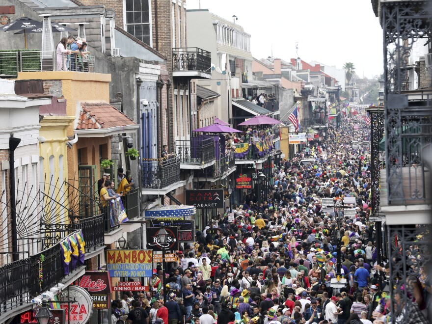 Bourbon Street was a sea of humanity on Mardi Gras day in New Orleans in February. The city will not allow Mardi Gras parades in 2021.