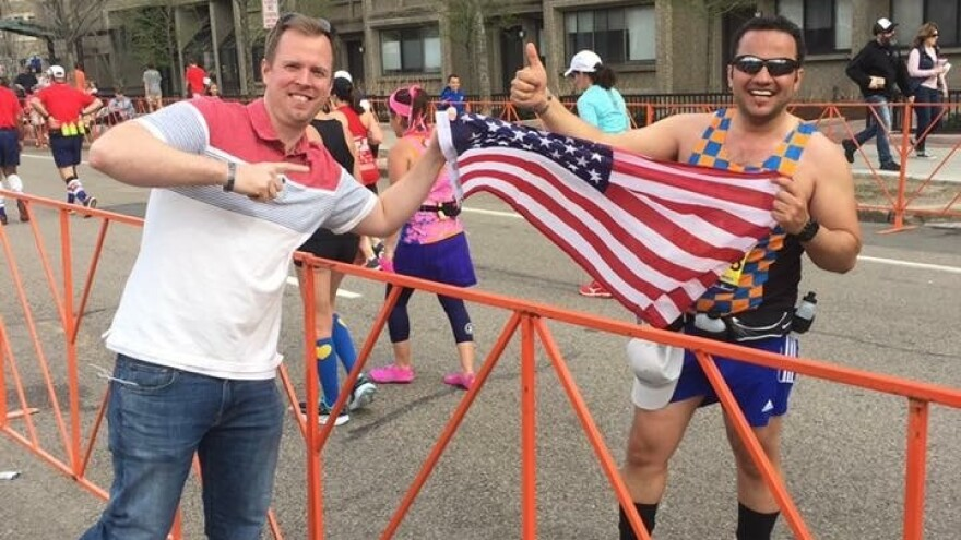 Farley (left) with Wisam al-Baidhani at the Boston Marathon. Baidhani ran the race for charity after moving to the U.S. as part of a program to protect Iraqis and Afghans who assisted American troops.