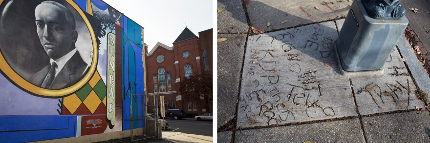 (Left) A mural by American artist G. Byron Peck stands across the street from Shiloh Baptist Church in the historic Shaw District. (Right) Residents leave their mark on a neighborhood sidewalk.