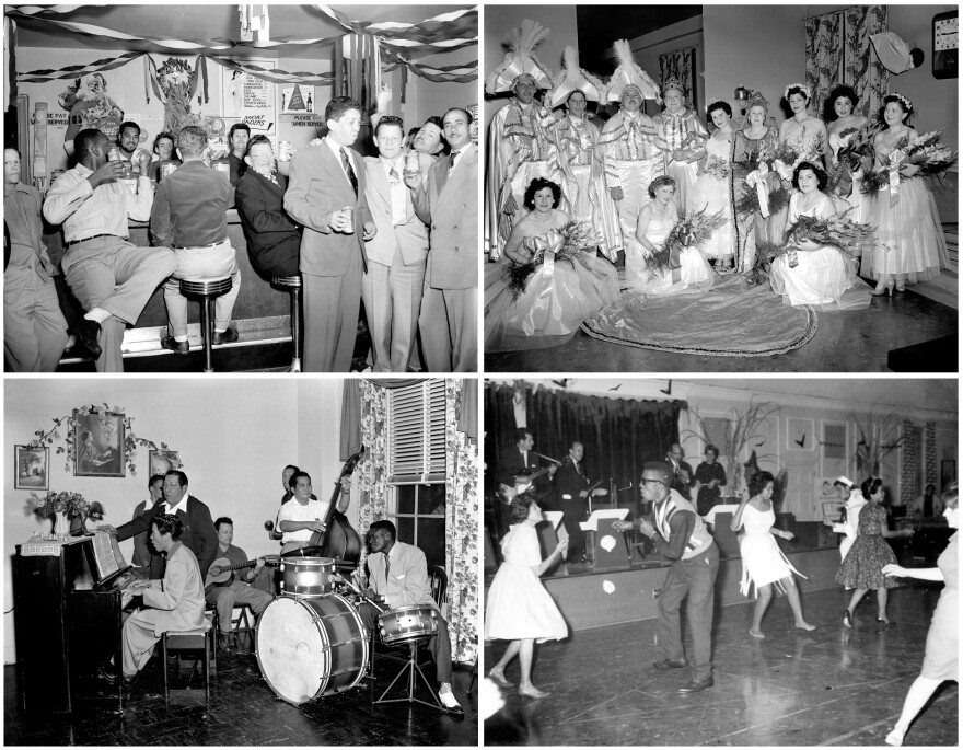 Patients at Carville were a diverse group — Black, white, Asian, Latino, rich and poor. Stigmatized because of their leprosy, they formed a tightknit community. Top left: a Christmas party, circa 1950. Top right: Patients dress as King Albert and Queen Victoria at a Mardi Gras bash in March 1954. Bottom left: A patient band rehearses in the 1950s. Bottom right: a patients' dance in the 1960s.