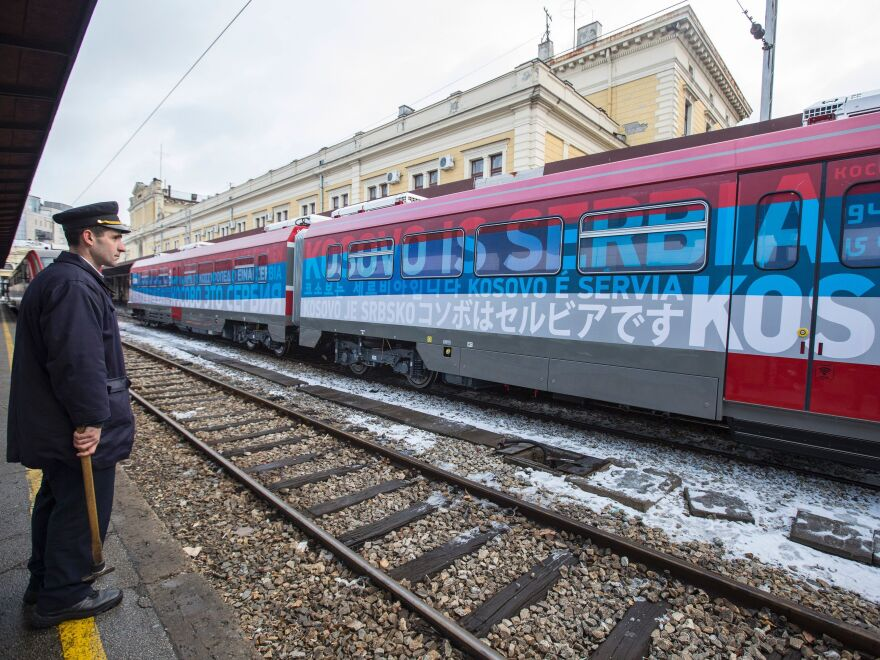 "A train decorated with Serbia's national colors and the phrase ""Kosovo is Serbia"" was stopped at the border of Kosovo on Saturday. The incident has stoked tensions between the two sides."