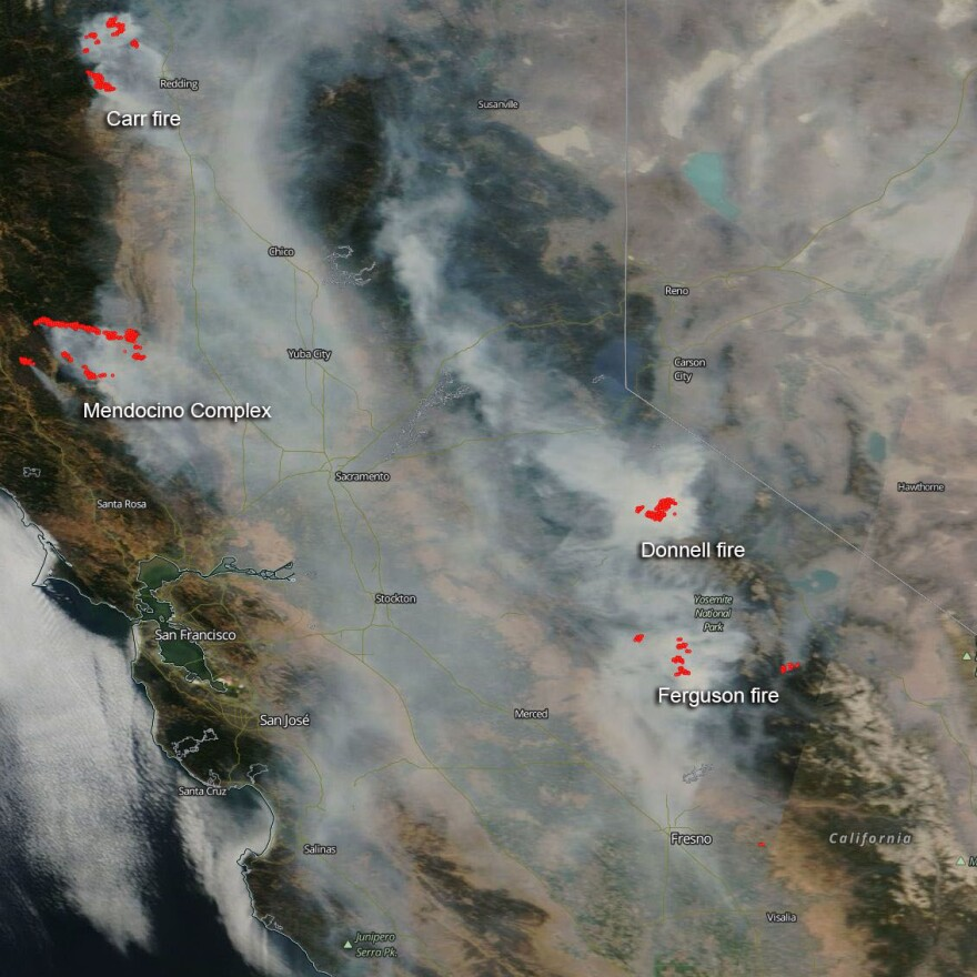 A NASA satellite image from August 7 captured the smoke blanketing central California.