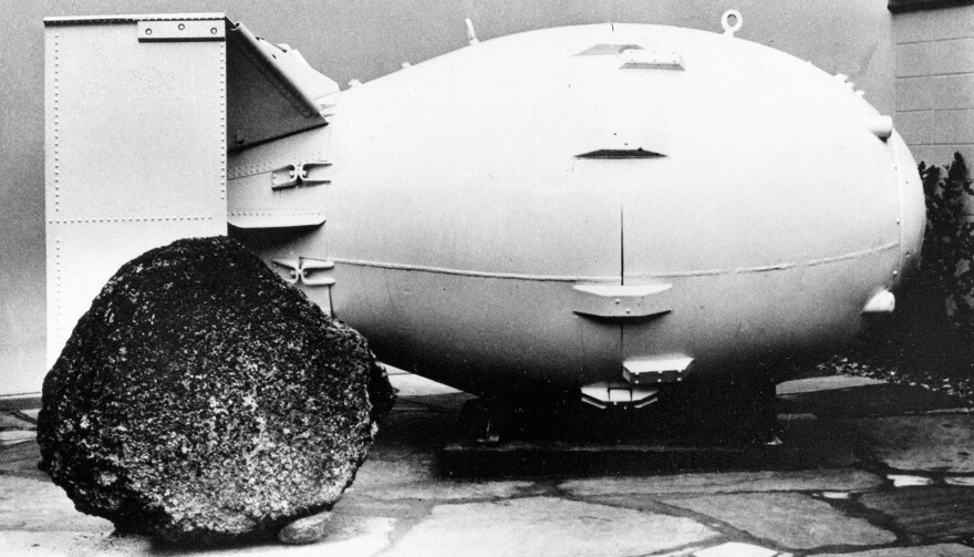 A 1965 image shows a replica of a Fat Man nuclear bomb, the type dropped on Nagasaki, Japan, in 1945, on view for the public in Los Alamos, N.M.