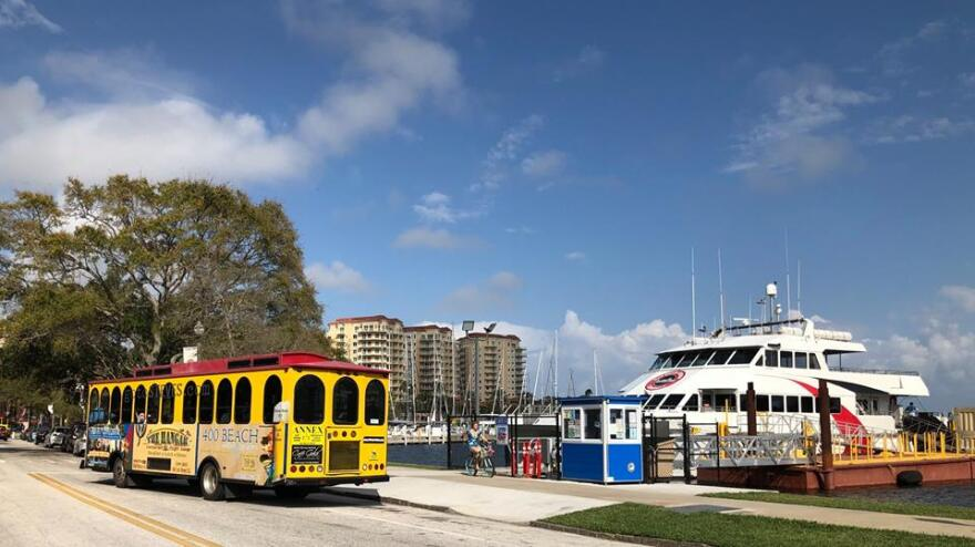St. Petersburg's downtown trolley and the ferry that runs from St. Petersburg to Tampa