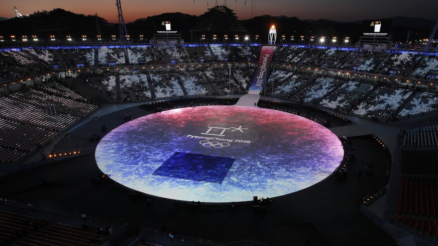 The 2018 Winter Olympics closing ceremony at the Pyeongchang Olympic Stadium.