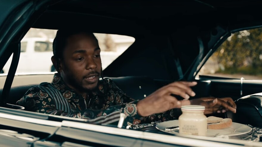 """One recent example of a musician prominently mentioning a brand in a song: Kendrick Lamar with a jar of Grey Poupon in the music video for """"Humble."""""""