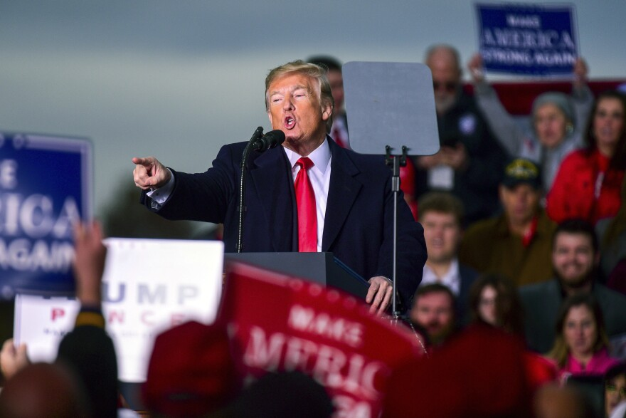 President Donald Trump speaks at a rally on Nov. 2, 2018, at the Tri-State Airport in Huntington, W.Va.