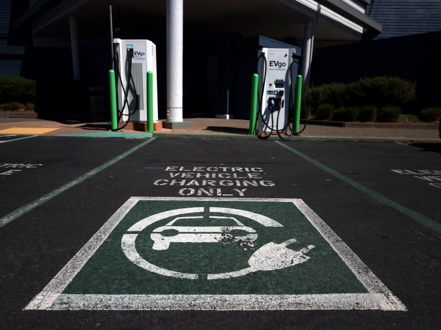 A view of electric car chargers on Sept. 23, 2020 in Corte Madera, Calif. There are several ways to charge electric vehicles and times range from minutes to half a day.